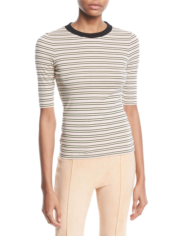 Rosetta Getty T-shirts CREWNECK SHORT-SLEEVE STRIPED COTTON-JERSEY CROPPED T-SHIRT