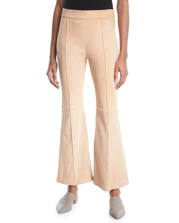 Rosetta Getty Pants PINTUCK FLARED-LEG STRETCH-SUEDE PANTS