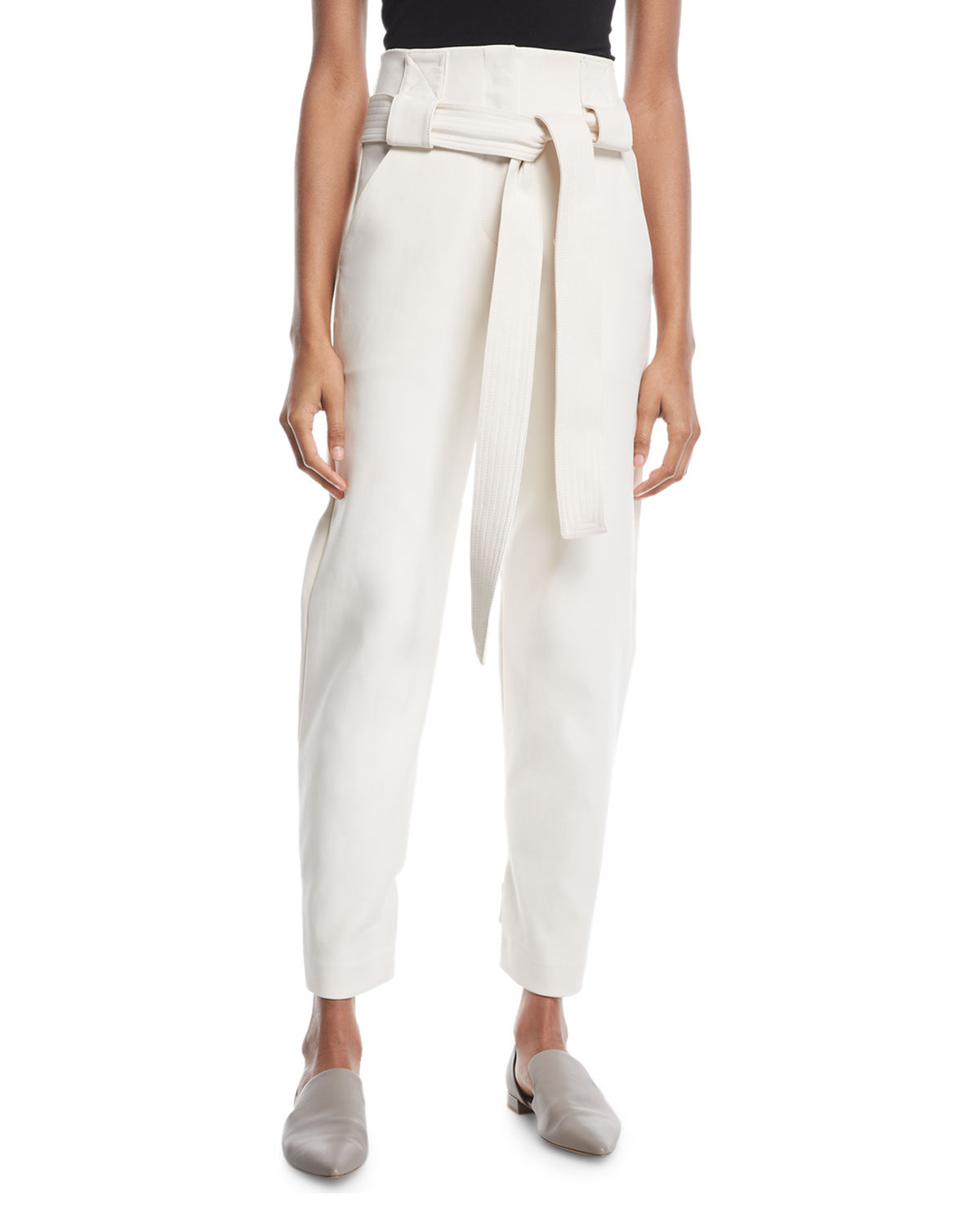 Rosetta Getty Pants BELTED HIGH-WAIST STRETCH-COTTON CROPPED PANTS