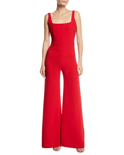 Sunrise Square-Neck Flare-Leg Jumpsuit