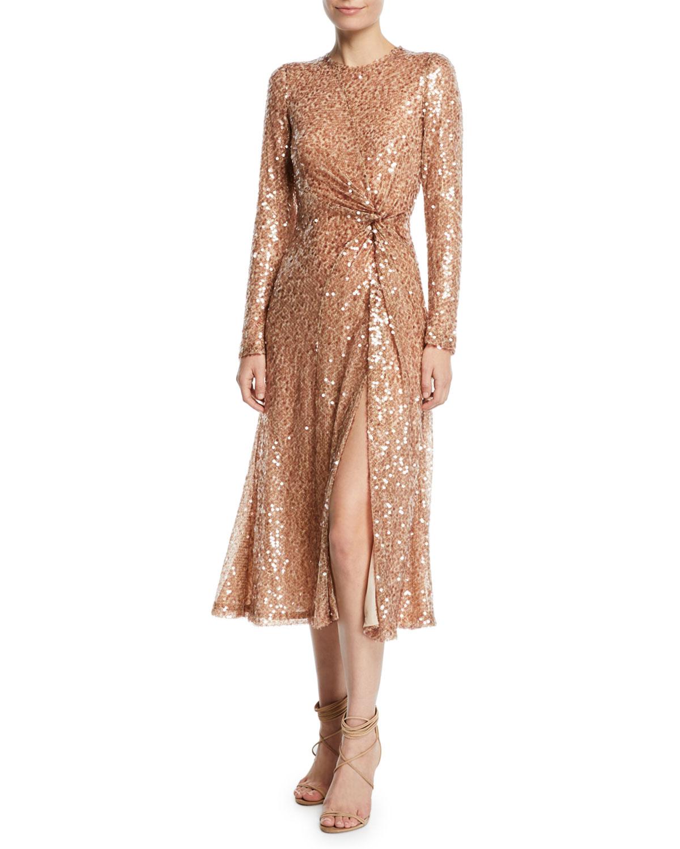 Galvan Dresses PINWHEEL SEQUINED TWIST-FRONT DRESS