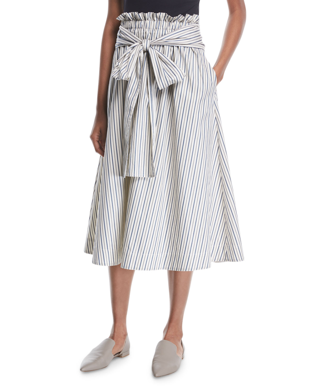 Rosetta Getty Skirts WRAP-PANEL STRIPED POPLIN FLARED MIDI SKIRT
