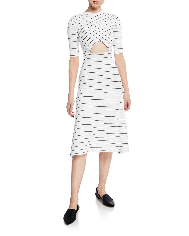 Rosetta Getty Dresses CROSSOVER CUTOUT PINSTRIPE SHORT-SLEEVE MIDI DRESS