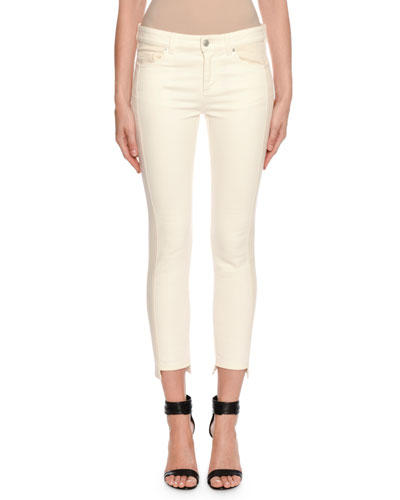 Two-Tone Patched Kickback Cropped Jeans, Ecru