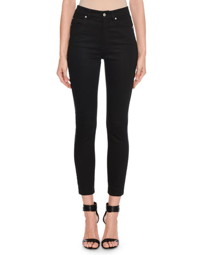 Mid-Rise Corded-Tux Side Skinny Jeans