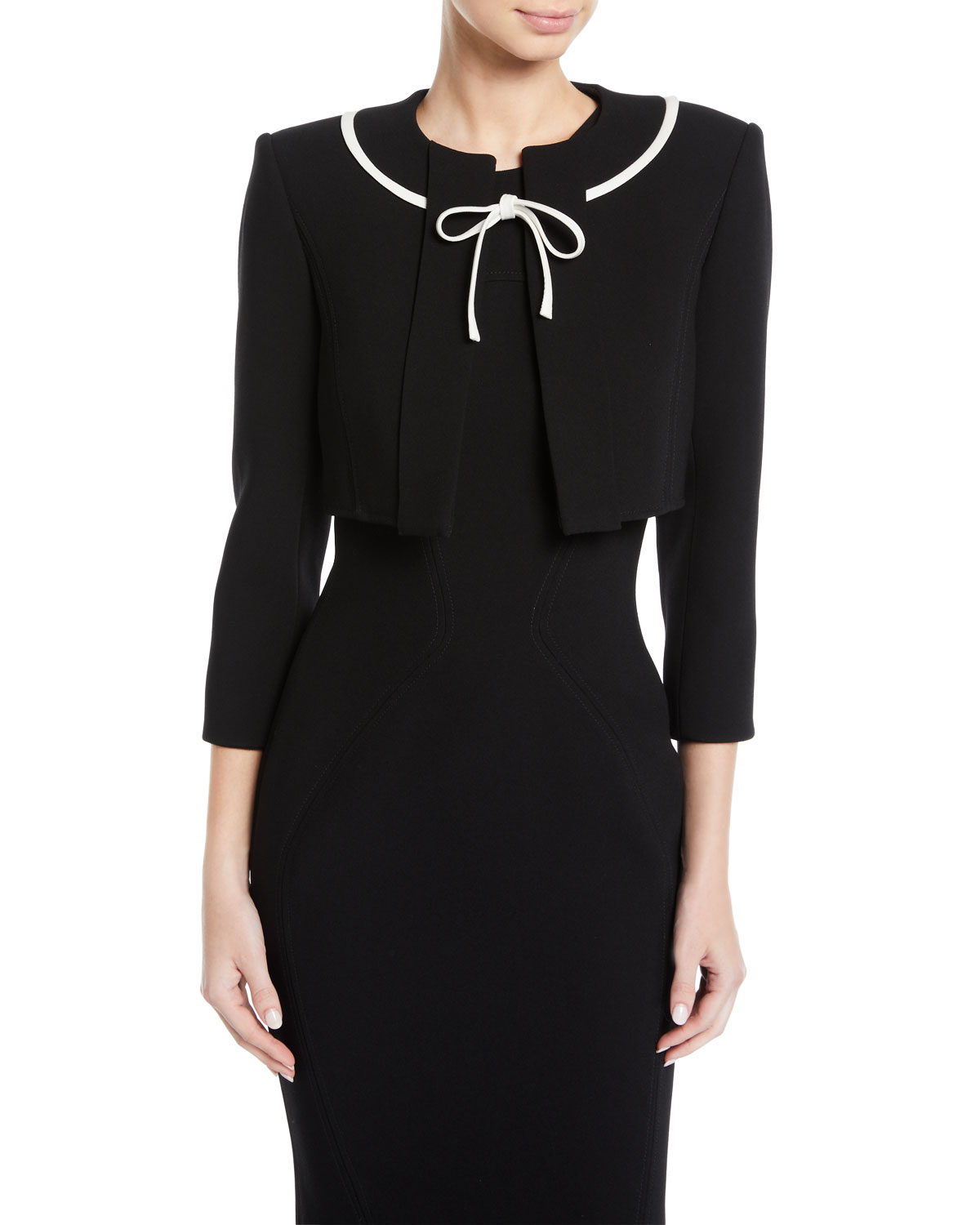 Zac Posen CROPPED JACKET WITH CONTRAST RIBBON TIES