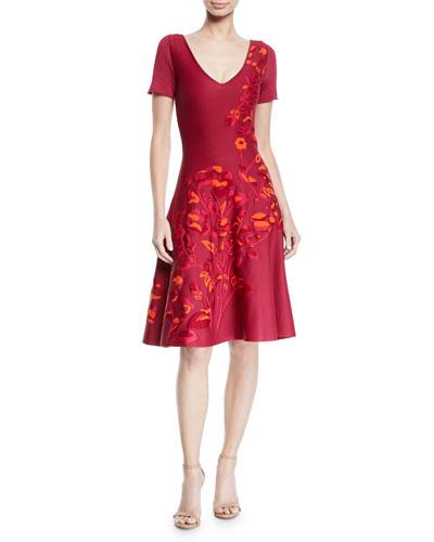 V-Neck Short-Sleeve Fit-and-Flare Floral-Jacquard Dress