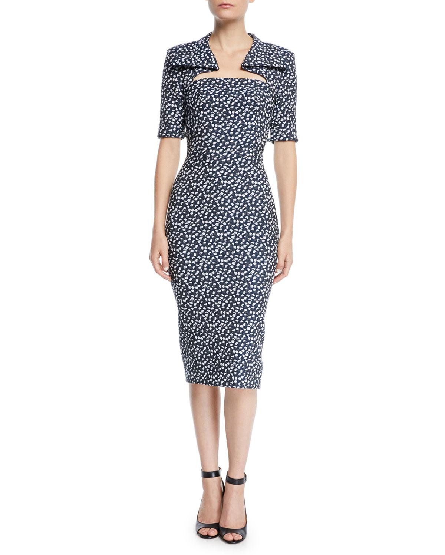 Zac Posen Dresses CUTOUT-NECKLINE ELBOW-SLEEVE FLORAL-PRINT MIDI SHEATH DRESS