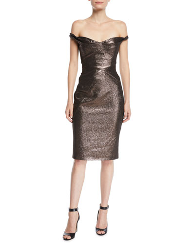 Fitted Metallic Cocktail Sheath Dress