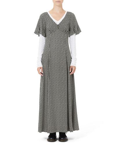 Ruffle-Sleeve Daisy Chain Maxi Dress