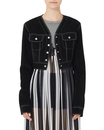 Cropped Jean-Style Suede Jacket