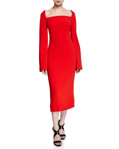 Bell-Sleeve Square-Neck Midi Dress