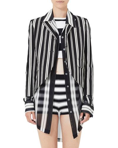 Striped 3/4-Sleeve Boyfriend Jacket