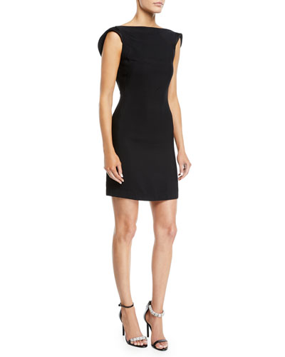 Scoop-Back Square-Neck Viscose Cady Mini Dress