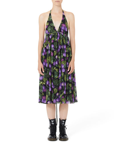Plum-Print Midi Halter Dress