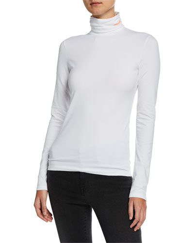 Turtleneck Long-Sleeve Jersey Top