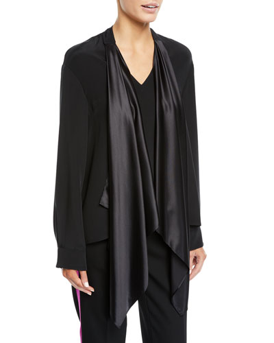 V-Neck Satin Drape-Front Silk Cady Blouse