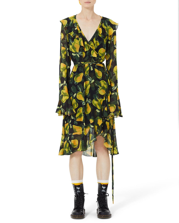 Marc Jacobs Dresses BELL-SLEEVE PEAR-PRINT WRAP DRESS