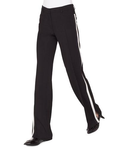 6c3caa393b Mikka Wide-Leg Wool Tricot Pants W/Contrast Stripe