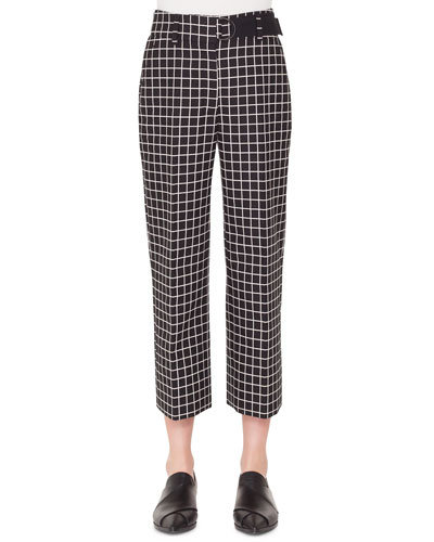 Ford Grid-Jacquard Cotton Cropped Tube Pants