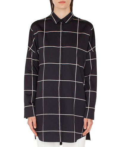 Big Grid Button-Front Tunic