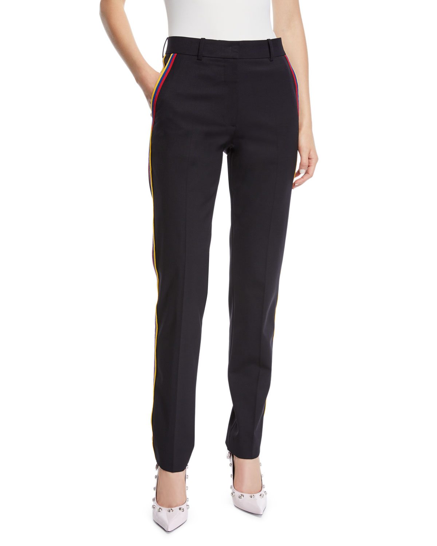 Calvin Klein 205w39nyc Pants BAND-STRIPES STRAIGHT-LEG CROPPED STRETCH-WOOL PANTS