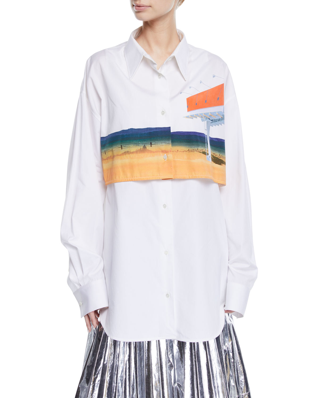 Calvin Klein 205w39nyc T-shirts BILLBOARD-PRINT OVERLAY LONG-SLEEVE BUTTON-DOWN SHIRT