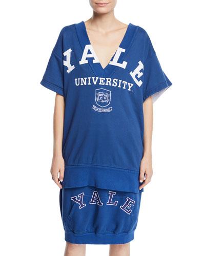 Yale University V-Neck Short-Sleeve Cotton Terry Top