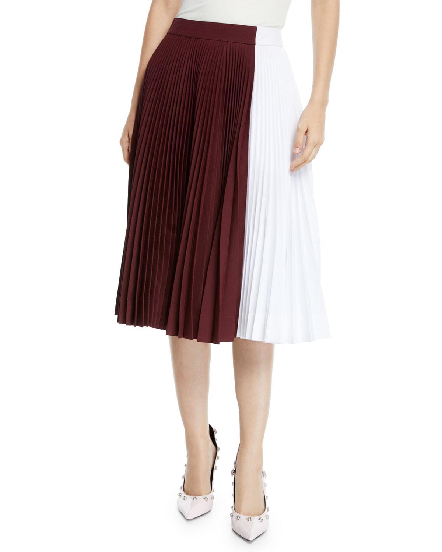 Calvin Klein 205w39nyc Skirts TWO-TONE PLEATED MIDI CIRCLE SKIRT