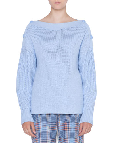 Oversize Wool/Cashmere Sweater with Button Shoulder Details