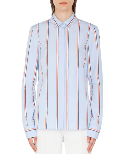 Striped Kent-Collar Button-Front Long-Sleeve Cotton Blouse