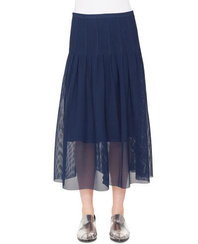 3-D Punto Lace Midi Skirt