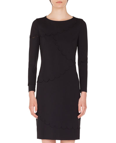 Long-Sleeve Sheath Dress with Memphis Scallop Details