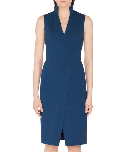 Stand-Collar V-Neck Jersey Sheath Dress
