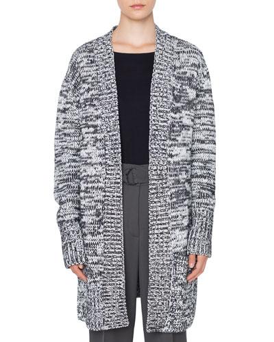 Long Chunky Melange Knit Cardigan