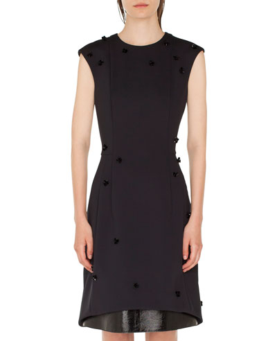 Sequined Leather-Hem Shift Dress