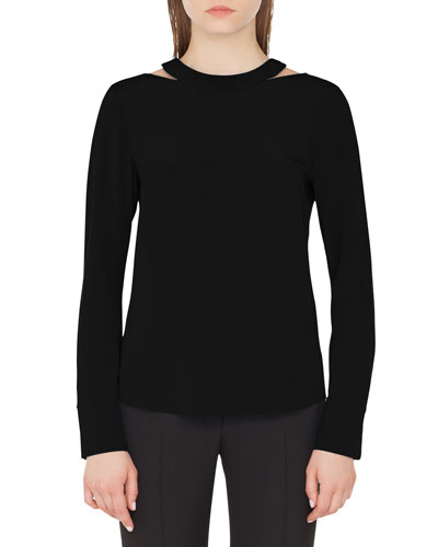 Long-Sleeve Collarbone-Cutout Silk Top