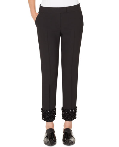 Frankie Straight-Leg Cropped Punto Pants with Sequin Cuffs