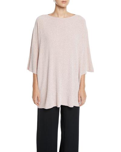 c06fb3801232bd 3 4-Sleeve Knit-Silk Square Top