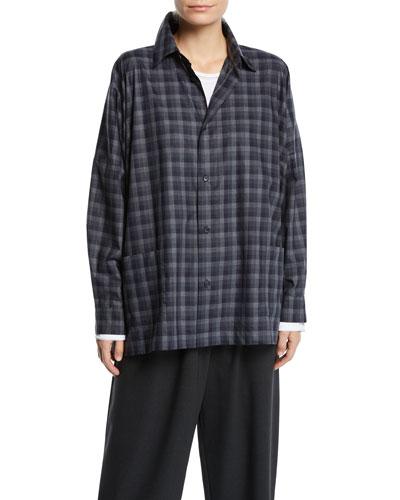 Plaid Spread-Collar Cotton Shirt Jacket