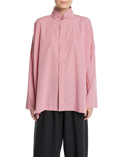 Micro-Check Double-Collar Button-Front Blouse, Red