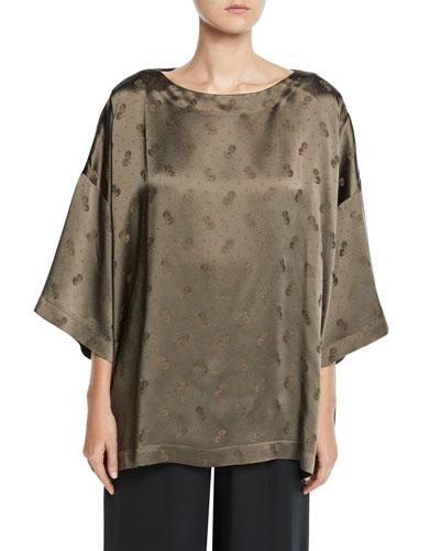 3/4-Sleeve Floral-Jacquard Tunic