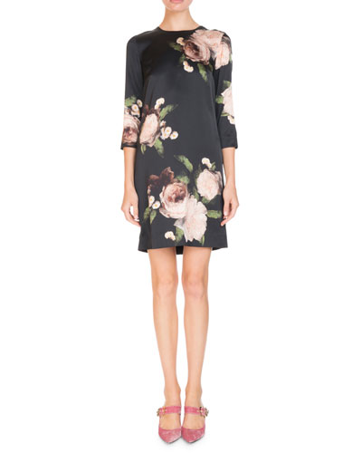 Emma Crewneck 3/4-Sleeve Floral-Print Silk Shift Dress
