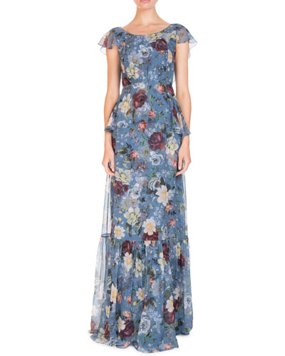 Julianna Scoop-Neck Cap-Sleeve Floral-Print Silk Chiffon Dress