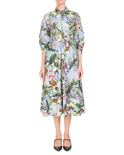 Adrienne Bird-Print A-Line Poplin Midi Dress