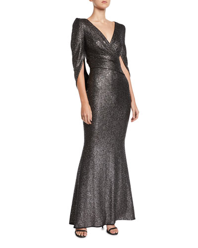 bdc841a13da V-Neck Cape-Sleeve Embellished Trumpet Evening Gown