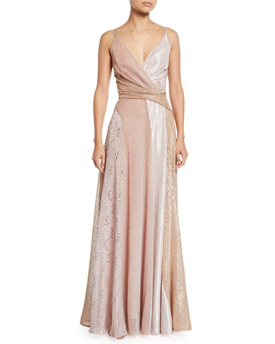 V-Neck Sleeveless Colorblock Sequined A-Line Evening Gown