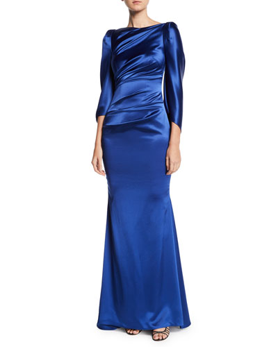 a3e10099df0 High-Neck Cape-Sleeve Satin Trumpet Evening Gown