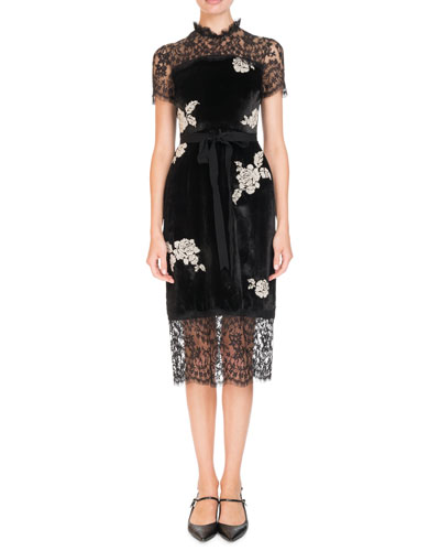 Keni Short-Sleeve Lace & Velvet Shift Dress w/ Pearly Roses