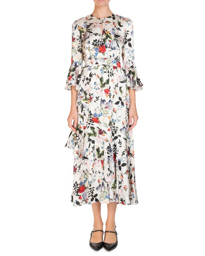 Florence Keyhole-Front Bell-Sleeve Floral-Print Silk Midi Dress